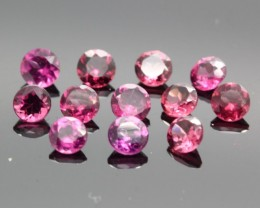 1.87ct/12PCS ROUND 3mm diamond CUT NATURAL Rhodolite Garnet Parcel Lot
