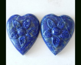 Natural Lapis Lazuli Cabochonpair With Flower Carving