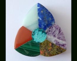 7 Stones Intarsia Pendant Bead(B1804324)