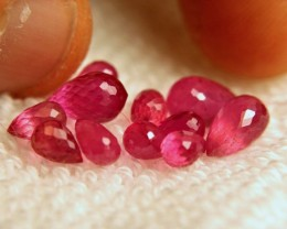 14.29 Tcw. Pinkish Red Ruby Briolettes - Gorgeous