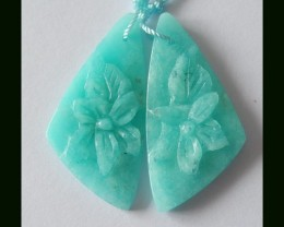 Unique Pure Blue Color Amazonite Earrings,Pesonalized Holiday Gifts,28.3 Ct