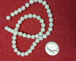 MOTHER OF PEARL BEAD STRAND 16 INCH LENGTH ROUND BEAUTIES