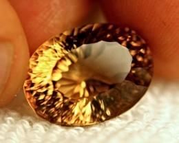 20.63 Carat Concave Cut VVS1 Brazilian Golden Topaz