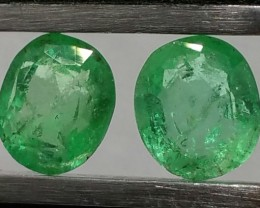 Spectacular Matching Pair 1.40tcw All Natural Colombian Emerald Untreated!