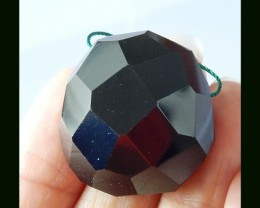 86.5 Cts Faceted Obsidian Pendant Bead