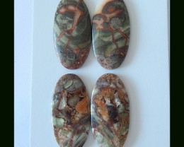Wholesale,Sell 2 Pairs of Oval Mushroom Jasper Cabochon Pair,Women Stone Je