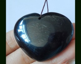 118.8 Cts Natural Heart Bead Obsidian Heart Pendant Beads