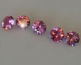 A Rapturous Parcel of 5 Candy Pink Sapphire gems Jewellery grade