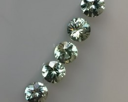 A Divine Parcel of 5 Celedon Green Sapphire gems Jewellery grade