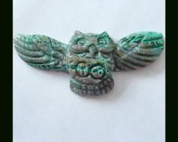 Handmade Charysocolla Owl Carving
