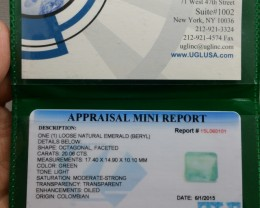 Certified Gigantic 20.06ct Colombian Emerald