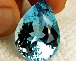 32.0 Carat VVS1 Brazil Blue Topaz Pear - Gorgeous
