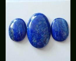 3 PCS Dark Blue Lapis Lazuli Cabochons Parcel,47 Cts