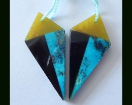 Colorful Intarsia Earrings, Factory Direct,Sleepy Beauty Turquoise,Obsidian