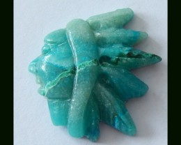 Smart Chrysocolla India Head Carving,Detailed Hand Carving, 26x22x6MM