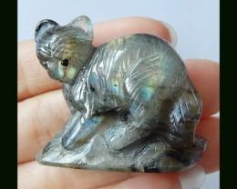 Cute Labradorite Bear Carving, Sparkling Labradorite Gemstone With Manual A