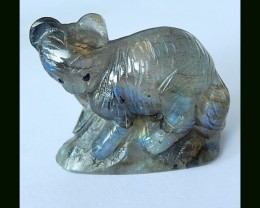 Cute Labradorite Bear Carving, Sparkling Labradorite Gemstone With Manual A