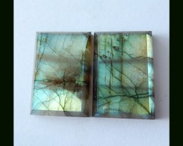 38.65 Cts High Quality Natural Labradorite Rectangular Cabochon Pair