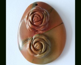133 Cts Multi Color Picasso Jasper Pendant Bead With Flower Carving