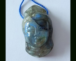 45.5 CTs Chinese Cultural Art, Labradorite Kindness Buddha Carved Pendant B
