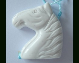 64.5 Cts White Agate Horse Carving Pendant Bead