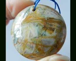67.5 Cts Natural Bamboo Agate Round Pendant Bead