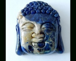 228 Cts Vintage Natural African Sodalite Large Buddha Heads Detailed Carvin