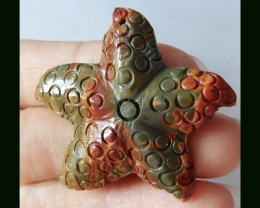 45Cts Multi Color Picasso Jasper Starfish Carving Pendant Bead
