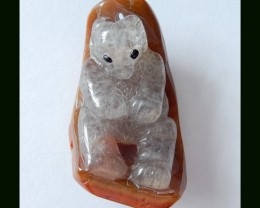 81.35 Cts Natural Zhangguo Red Agate Pendant Bead With Bear Carving,Crystal