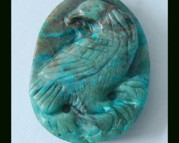 Handmade Chrysocolla Bird Carving Pendant Bead,44x33x8 MM