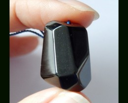 28 Cts Faceted Obsidian Pendant Bead