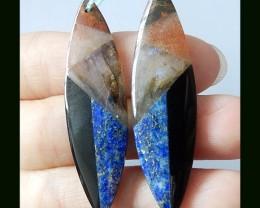41.3 C Natural Lapis Lazuli,Sunstone, Labradorite,Obsidian Intarsia Earring