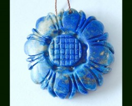 Lapis Lazuli Sunflower Carving Pendant Beads,89.5 Cts
