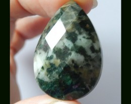 38 Cts Hand Cut Faceted Moss Agate Teardrop Cabochon
