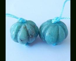Chrysocolla Pumkin Beads Earring Beads Pair