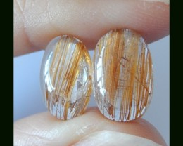 2 PCS Natural Gold Rultilated Quartz Cabochons