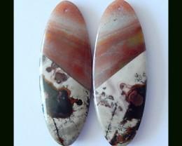 37 Cts Natural Chohua Jasper, Bi Color Amazonite Intarsia Earring Beads
