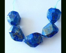 199 Cts Polyhedral Faceted Lapis Lazuli Gemstone Beads Strands