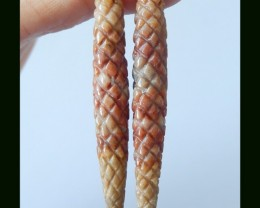 26 Cts Natural Bi Color Amazonite Carved Earring Beads