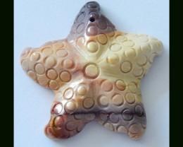 Starfish Carved Mookaite Jasper Pendant Bead,35x7 MM