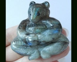 Labradorite Bear Carving Handmade Livesome Animal Carving