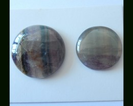 2 PCS Natural Rainbow Fluorite Round Cabochon,Two Size