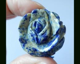 Flower carved Lapis Lazuli Pendant Bead,62.5 Cts