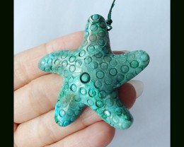 91.5 Cts Chrysocolla Starfish Carved Pendant Bead