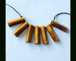 Triangular Prism Necklace Beads Strands, Tiger Eye,Obsidian Intarsia Design