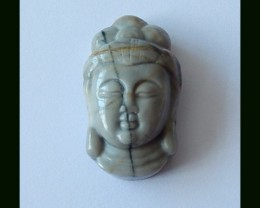 40.5 Cts Natural Picture Jasper Buddha Head Carved Pendant Bead