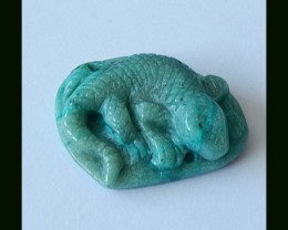 Lizard Carved Chrysocolla Pendant Bead,44.5 Cts