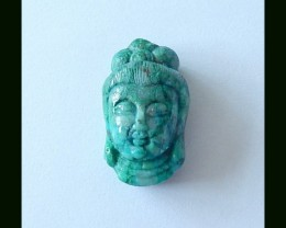 48 Cts Chrysocolla Buddha Head Carving Pendant Bead Side Drilled