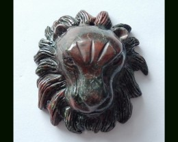 Dragon Bloodstone Lion Carving ,100% Hand Carved Top Drilled,315.5 Cts