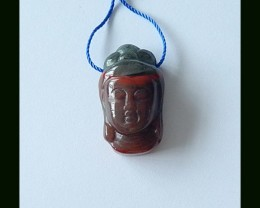 43.3 Cts African Bloodstone Buddha Carved Pendant Bead